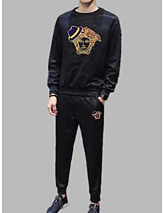 baratos Abrigos e Moletons Masculinos-Homens activewear Set - Estampado, Sólido / camuflagem / Retrato