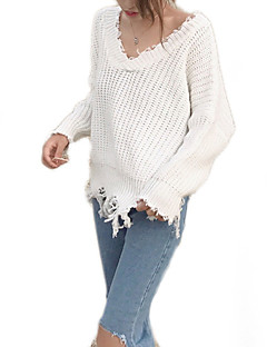 baratos Suéteres de Mulher-Mulheres Básico Pulôver - Sólido, Renda / Vazado