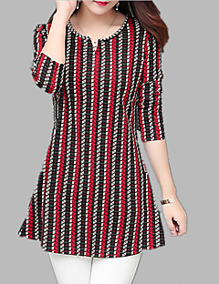 billige Skjorte-Dame - Stribet / Geometrisk Trykt mønster Skjorte