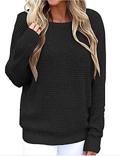 baratos Suéteres de Mulher-Mulheres Básico Pulôver - Sólido, Frente Única