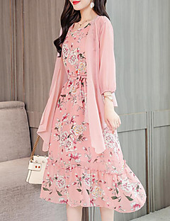 Women's Plus Size Going out Two Piece Dress - Floral Print