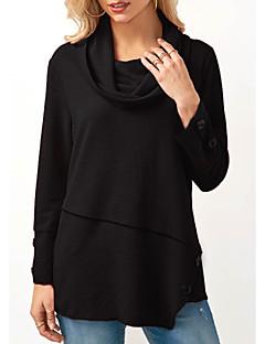 baratos Moletons com Capuz e Sem Capuz Femininos-camisola de algodão de manga comprida para mulher - gola redonda de cor sólida