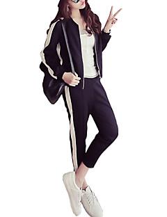 billige Løbetøj-Dame Lomme / Snørelukning Træningsdragt - Sort / Hvid Sport Stribe Jakke / Bukser Løb, Fitness Sportstøj Åndbart Mikroelastisk