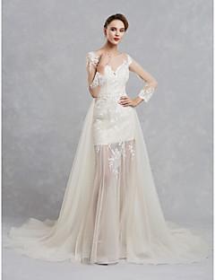 billiga Brudklänningar-A-linje Bateau Neck Hovsläp Spets / Tyll Bröllopsklänningar tillverkade med Spets av LAN TING BRIDE®