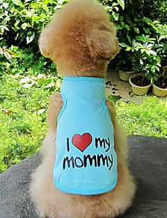 billiga Hundkläder-Hund / Katt Väst Hundkläder Hjärta / Slogan Grå / Blå / Rosa Cotton Kostym För husdjur Unisex Söt Stil / Ledigt / vardag