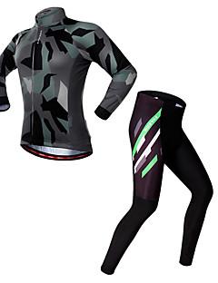 billige Sett med sykkeltrøyer og shorts/bukser-WOSAWE Herre Langermet Sykkeljersey med tights - Kamuflasje Kamuflasje Sykkel Jersey / Tights, 3D Pute, Refleksbånd Spandex / Elastisk