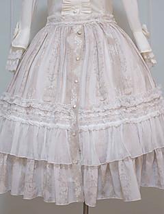 billiga Lolitamode-Gotisk Lolita Söt Lolita Traditionellt / Vintage Elegant Chiffong Dam Kjolar Cosplay Brun / Grön Sydd spets Midi Kostymer