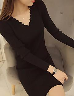 Χαμηλού Κόστους Γυναικεία πουλόβερ σε μεγάλα μεγέθη-Γυναικεία Βασικό Πουλόβερ - Μονόχρωμο