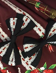 billiga Lolitaaccessoarer-Lolita Accessoarer Glamorös & Dramatisk Rokoko Dam Svart / Beige lolita tillbehör Tryck Rosett Huvudbonad Polyster Halloweenkostymer
