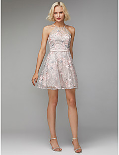 billiga Balklänningar-A-linje Prydd med juveler Knälång Spets Cocktailfest Klänning med Mönster / tryck / Bälte / band av TS Couture®