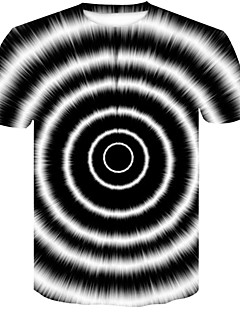billige Bestselgere-Rund hals T-skjorte Herre - Fargeblokk / 3D / Grafiske trykk, Trykt mønster Grunnleggende / Gatemote Klubb Svart og hvit / Kortermet