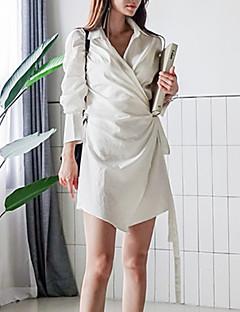 billige AW 18 Trends-Dame Grunnleggende Skjede Kjole - Ensfarget, Blondér / Lapper Ovenfor knéet