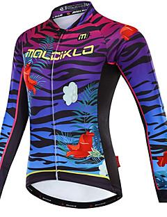 billige Sykkelklær-Malciklo Dame Langermet Sykkeljersey - Hvit / Svart Sykkel Jersey, Fort Tørring, Fleecefor, Refleksbånd Fleece, Lycra Sebra / YKK-glidelås / Italia Importert blekk