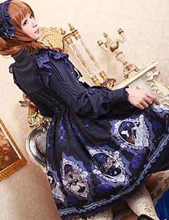 billiga Lolitamode-Söt Lolita Snörning Chiffong Dam jsk / Jumper Kjol Cosplay Röd / Blå / Bläck blå Ärmlös Knälång Kostymer