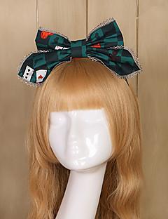 billiga Lolitaaccessoarer-Lolita Accessoarer Vintage Elegant Dam Mörkgrön lolita tillbehör Tryck Pläd / Rutig Huvudbonad Chiffong Halloweenkostymer