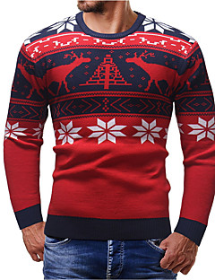 baratos Suéteres & Cardigans Masculinos-Homens Moda de Rua Pulôver - Geométrica / Animal