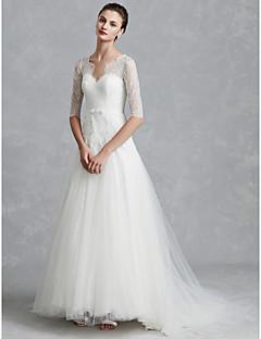 billiga Brudklänningar-A-linje V-hals Golvlång Spets / Tyll Bröllopsklänningar tillverkade med Rosett(er) / Knappar av LAN TING BRIDE® / Illusion / Vacker i svart