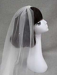 billiga Brudslöjor-Ett lager Vintage Stil / Klassisk Stil Brudslöjor Fingertopp Slöjor med Pärlimitation / Enfärgad Tyll