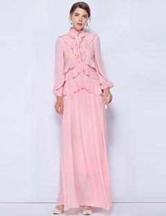 baratos Vestidos de Festa-Mulheres Moda de Rua / Temática Asiática Luva Lantern balanço Vestido - Patchwork, Sólido Longo