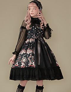 billiga Lolitamode-Söt Lolita Klassisk / Traditionell Lolita Vintage Elegant Spets Dam Klänningar Cosplay Svart Ärmlös Ärmlös Midi Kostymer