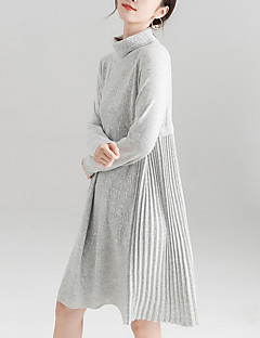 cd04b27bd3b4 Γυναικεία Βασικό Πλεκτά Φόρεμα - Μονόχρωμο Ως το Γόνατο Ζιβάγκο