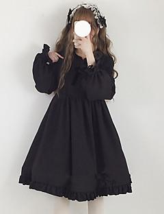 billiga Lolitamode-Söt Lolita Casual Lolita Klänning Japansk och Koreansk Stil Söt Lolita Dam Klänningar Cosplay Svart / Röd / Rosa Juliet Långärmad Midi Halloweenkostymer