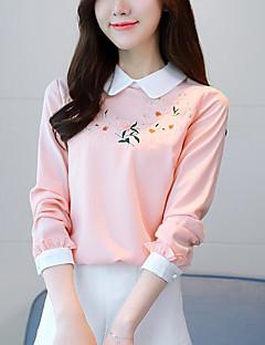 Χαμηλού Κόστους Μπλούζα-γυναικεία βλεφαρίδα - μπλούζα μπλούζας / λουλουδένιο λαιμό πληρώματος