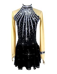 abordables Patinage-Robe de Patinage Artistique Femme / Fille Patinage Robes Noir Spandex Micro-élastique Professionnel / Concurrence Tenue de Patinage Fait à la main Paillette Manches Longues Patinage Artistique