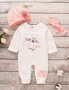 abordables Envoyés En 24 Heures-bébé Fille Actif / Basique Imprimé Manches Longues Coton / Polyester Une-Pièce Blanc / Bébé