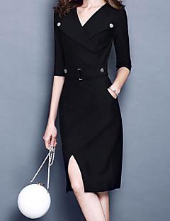 baratos Vestidos de Festa-Mulheres Moda de Rua / Sofisticado Reto / Bainha Vestido - Fenda, Sólido Médio