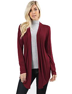 baratos Suéteres de Mulher-Mulheres Manga Longa Solto Longo Carregam - Sólido / Decote V / Primavera / Outono