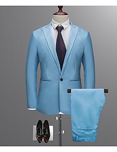 cheap Men's Blazers & Suits-Men's Work Regular Suits, Solid Colored Shirt Collar Long Sleeve Polyester Wine / Light Blue / Khaki XL / XXL / XXXL