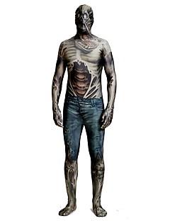 billige Zentai-Zentai Drakter / mønstret Zentai Drakter / Cosplay Kostumer Zombie Zentai Cosplay-kostymer Svart Printer Spandex Lykra / Elastisk Unisex Halloween / Karneval / Maskerade