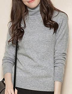 tanie Swetry damskie-Damskie Futro królika Golf Szczupła Pulower Solidne kolory Długi rękaw