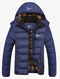 cheap Men's Plus Sizes-Men's Going out Color Block Regular Parka, Polyester Long Sleeve Hooded Blue / Black / Red XXXL / XXXXL / XXXXXL