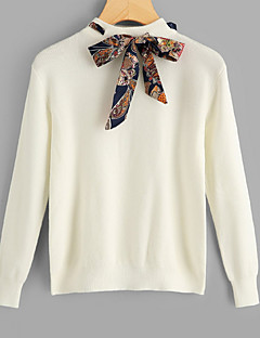 baratos Suéteres de Mulher-Mulheres Básico Pulôver - Sólido, Cordões