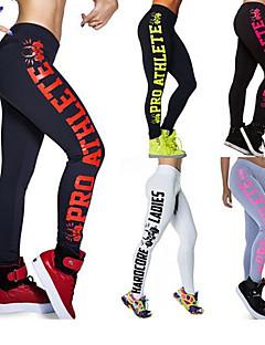 billiga Träning-, jogging- och yogakläder-Dam Fint veckad midja Yoga byxor - Ljusblå, Grön / svart, Fuschia sporter Bokstav Cykling Tights / Leggings Löpning, Fitness, Gym Plusstorlekar Sportkläder Mjuk, Butt Lift, Sportflex Elastisk Skinny