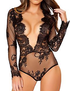 baratos Moda Sensual Feminina-Mulheres Super Sexy Corpete Roupa de Noite - Renda Sólido / Jacquard / Decote em V Profundo