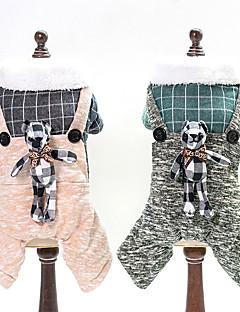 billiga Hundkläder-Hund Jumpsuits Hundkläder Enfärgad / Pläd / Rutig / Tecknat Gul / Grön Jeans / Cotton Kostym För husdjur Unisex Söt Stil / Håller värmen
