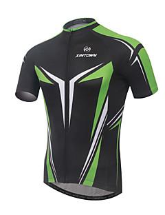 28fddf81d XINTOWN Men s Short Sleeve Cycling Jersey - Green   Black Bike Jersey Top  Breathable Quick Dry Ultraviolet Resistant Sports Elastane Terylene Lycra  Mountain ...