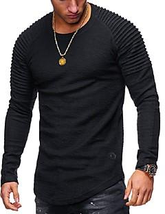 billige topsælgende-Rund hals Herre - Ensfarvet Basale T-shirt / Langærmet