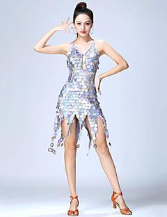 tanie Stroje do tańca latino-Taniec latynoamerykański Sukienki Damskie Spektakl Poliester Bandażowe / Dżety Bez rękawów Wysoki Sukienka
