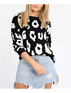baratos Suéteres de Mulher-Mulheres Básico / Moda de Rua Pulôver - Leopardo