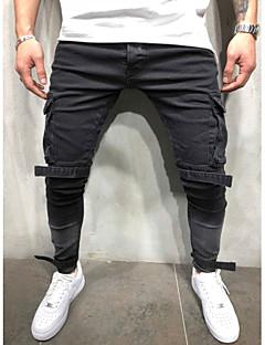billige Herrebukser og -shorts-Herre Gatemote / Punk & Gotisk Bomull Jeans Bukser - Ensfarget Hull Svart / Klubb