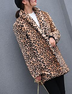 billige Pels-Dame Daglig Grunnleggende Høst vinter Store størrelser Lang Pelskåpe, Leopard Aftæpning Langermet Fuskepels Brun XXL / XXXL / 4XL