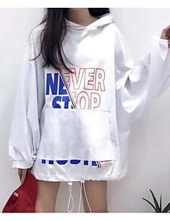 baratos Moletons com Capuz e Sem Capuz Femininos-hoodie de algodão de manga comprida feminina - carta com capuz