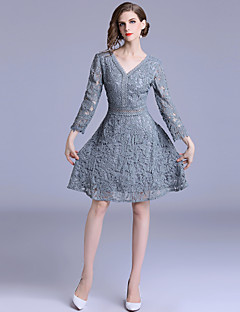 Women s Holiday   Going out Sophisticated   Elegant A Line Dress - Solid  Colored Lace High Waist V Neck Fall Light Blue M L XL acea49743