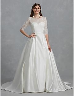 billiga Brudklänningar-Balklänning Bateau Neck Hovsläp Spets / Satäng Bröllopsklänningar tillverkade med Spets / Bälte / band av LAN TING BRIDE®