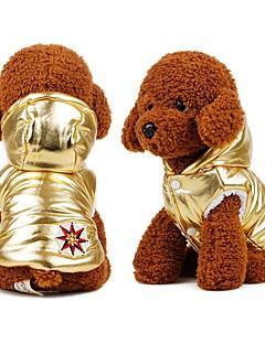 billiga Hundkläder-Hund Kappor / Dunjackor Hundkläder Enfärgad Guld / Silver Cotton Kostym För husdjur Herr / Dam Ledigt / vardag / Uppvärmning