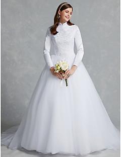 billiga A-linjeformade brudklänningar-Balklänning Hög hals Kapellsläp Spets / Tyll Bröllopsklänningar tillverkade med Spets av LAN TING BRIDE®